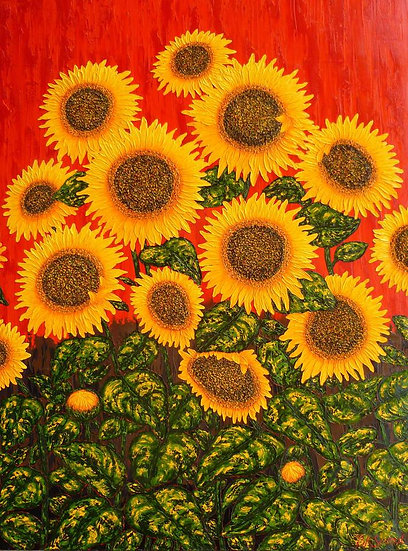 "Sunflowers Red 36"" x 48"""