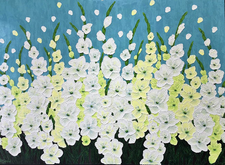 "Early Morning Gladiolas 48"" x 36"" x 1/2"""