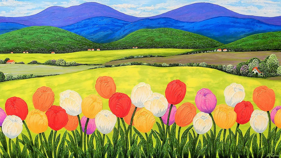 Tulips Framing Rolling Hills