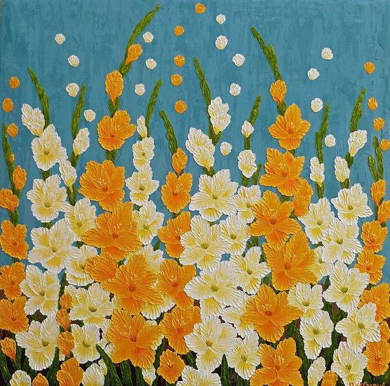 "Gladiolas Yellow and White 36"" x 36"""
