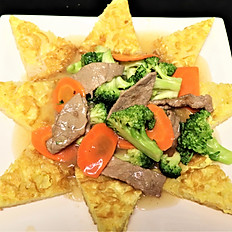 62e.  Beef egg pan fried rice noodle w/egg