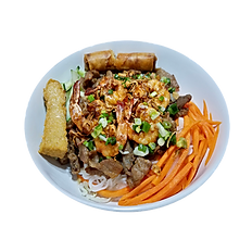 32. THINH AN SPECIAL VERMICELLI. (Grilled pork, shrimp patty, fried eggroll, grilled shrimp).