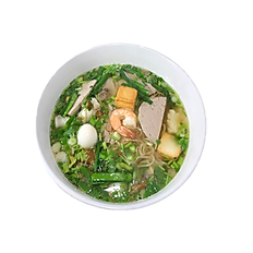 23. THINH AN SPECIAL EGG NOODLE SOUP. (Pork meat, shrimp, squid, fried fish cube, Vietnamese ham, quail egg w/ chicken broth).