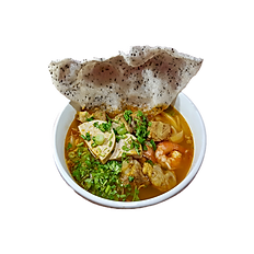 47. QUANG STYLE YELLOW RICE NOODLE SOUP. (pork spare ribs, shrimp, & Vietnamese ham) (Spicy)