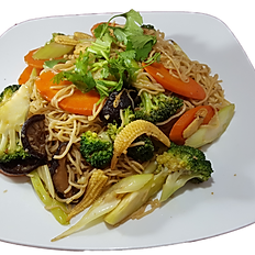 92. VEGETERIAN STIR FRIED EGG NOODLE W/ TOFU & VEGGIE