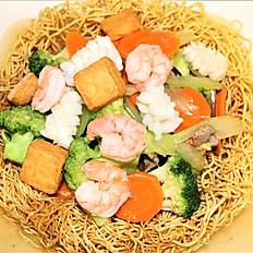 56b.  Seafood (shrimp, squid, fishcube) pan fried egg noodle (crispy)