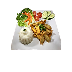 97. VEGETARIAN BROKEN RICE W/TOFU SAUTEED LEMONGRASS, VEGETABLE.(Spicy)