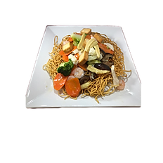 56a. SEAFOOD STIR FRIED EGG NOODLE (shrimp, squid, fried fish cube)