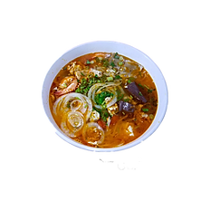 45. CRAB PASTE RICE NOODLE SOUP. (shrimp, squid, tofu, pork, pork blood, & tomato) (Spicy)