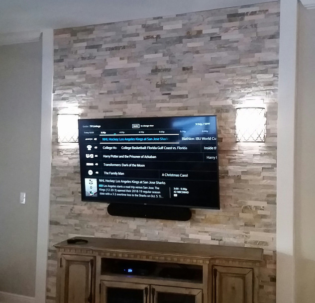 Niceville, FL Stack Stone mounted TV and soundbar