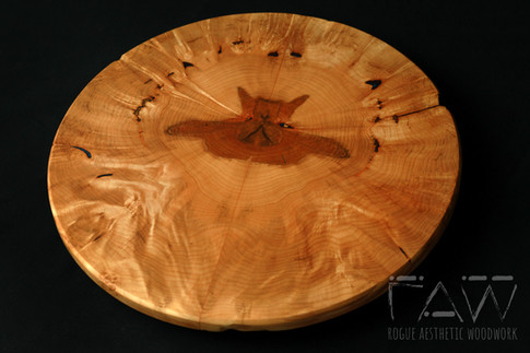 Bookmatched Maple Burl Lazy Susan