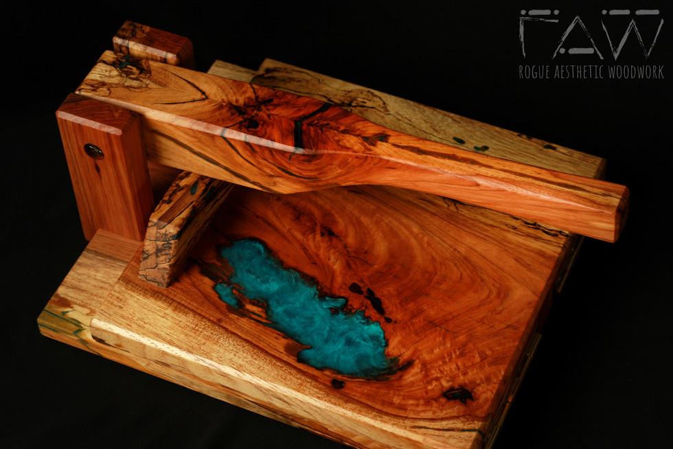 """11"""" Pecan and Aqua Resin Tortilla Press"""