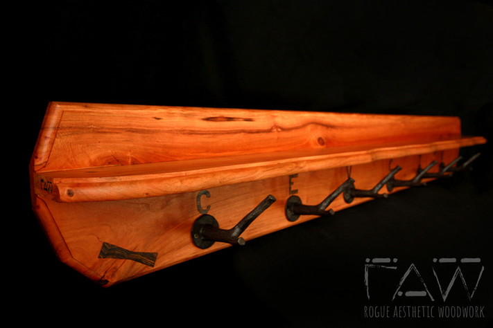 Custom Cherry Coat Rack with Shelf