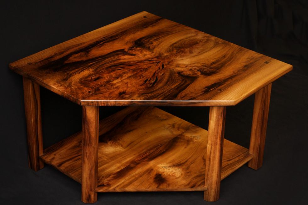 Bookmatched Myrtlewood Corner Table