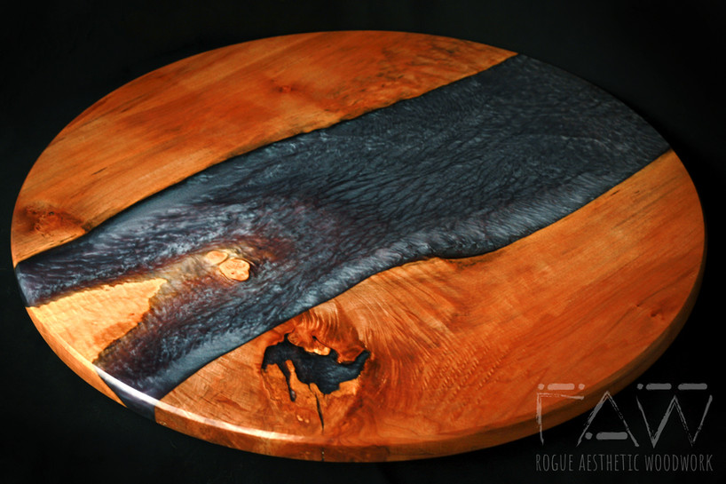 """24"""" Maple and Slate/Periwinkle Resin Lazy Susan"""