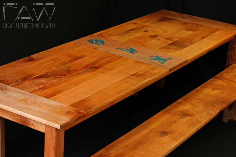 Maple Farmstyle Table with Resin Inlay