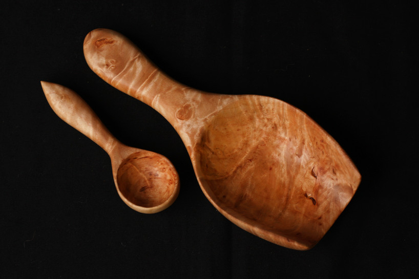 Figured Maple Scoop and Little Spoon