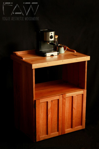 Cherry Coffee Stand with Microwave Shelf