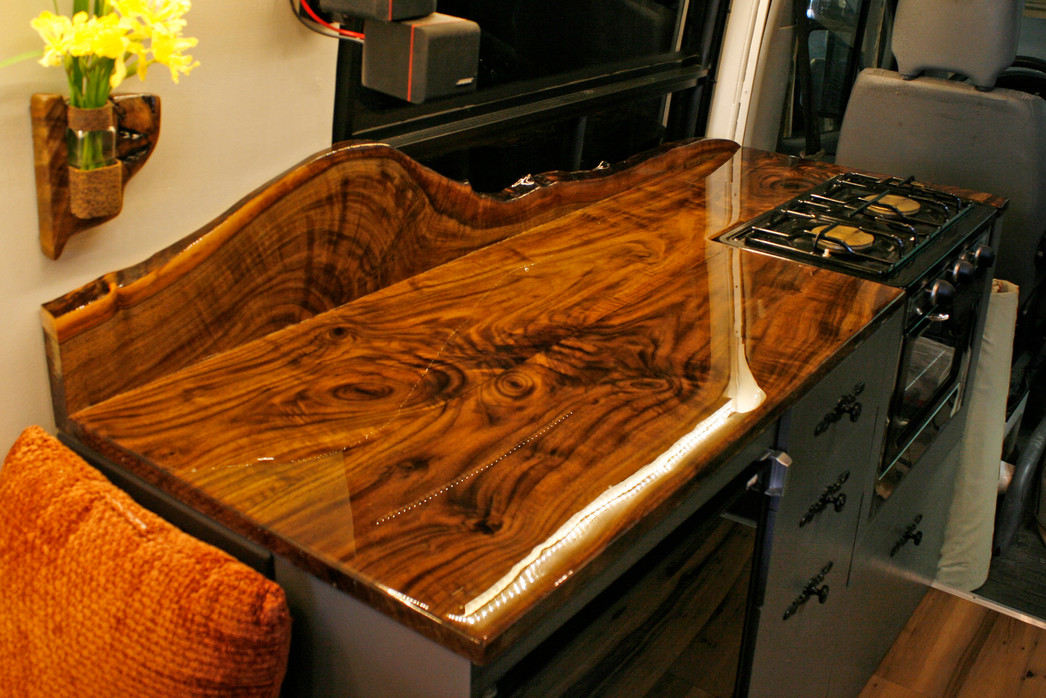 Black Walnut Resin Van Countertop with Backsplash