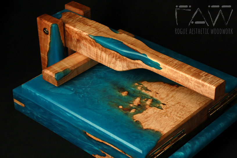 """11.75"""" Maple and Bright Blue Printing Press"""