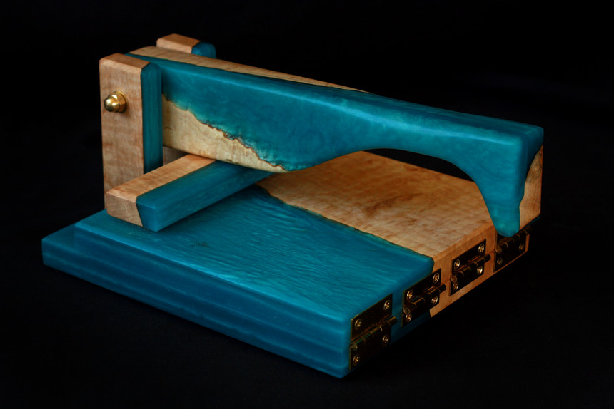 Fiddleback Maple and Bora Bora Blue Resin Tortilla Press