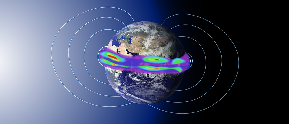 Around Earth's equator, bright swaths of color known as airglow, can appear hovering at about 50 to 300 miles above the surface of Earth. These are the result of a complex interaction between Earth's magnetic field lines – shown in this illustration as white lines connecting the North and South poles – and terrestrial weather. NASA's ICON mission, led by a team at the University of California at Berkeley, will study such interactions in the near-Earth space environment.