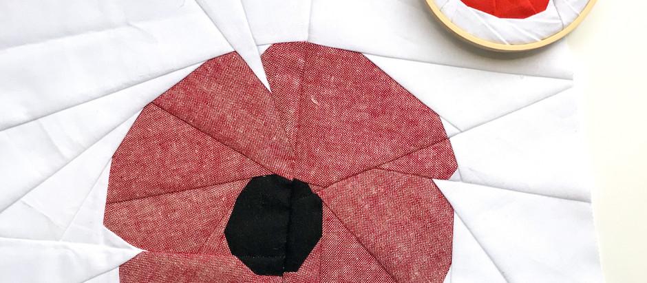 Red Poppy Paper Piecing Pattern