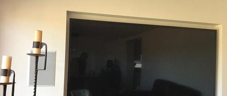False wall complete 87_ tv and hidden speakers #plasterer #innerwestplasterer #interiordesign