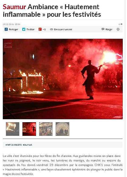 Article de presse - Saumur- Ambiance hautment inflammable