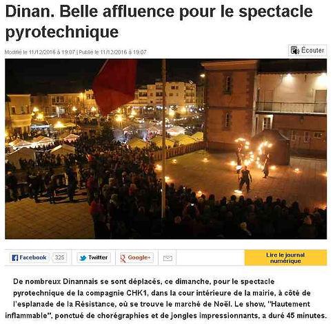 article de presse - ouest france - Belle affluence pour le spectacle pyrotechnique
