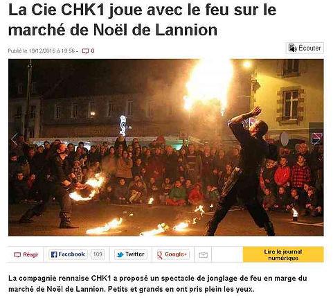 article de presse - courrier de l'ouest - la compagnie CHK1 joue avec le feu