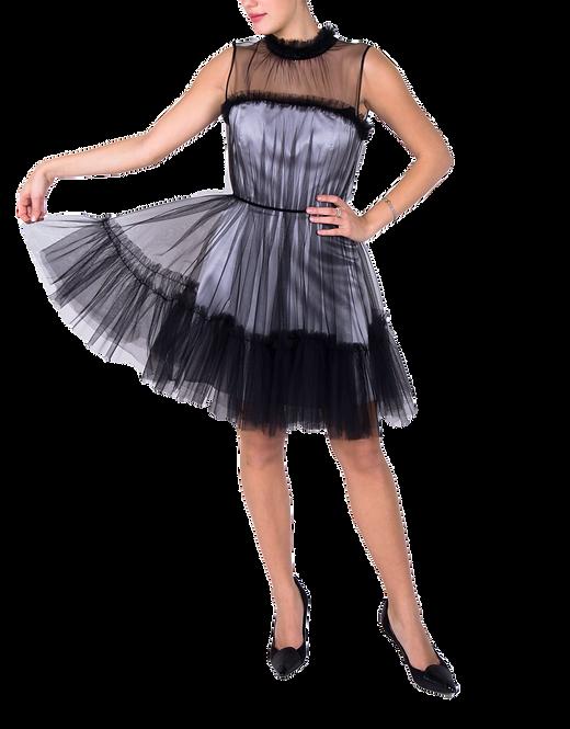 Suknia Blanche srebrno-czarna