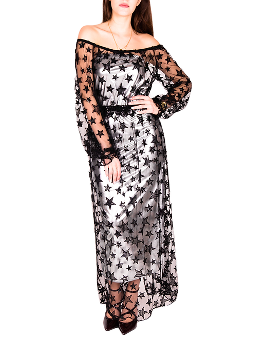 Suknia Solange z czarnego tiulu w gwiazdki