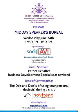 June Midday Speaker's Bureau Presented by Verdi consulting and Sponsored by Sociavi
