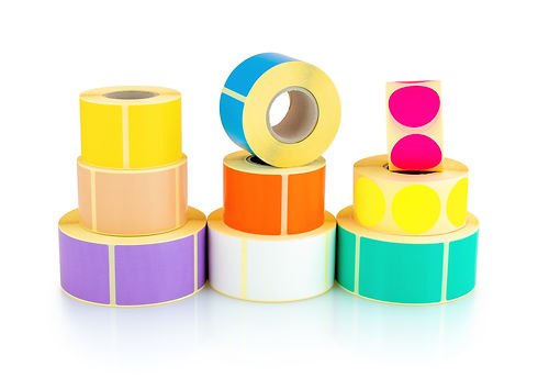 Colored square and circle label rolls is