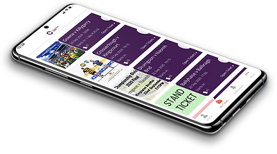 Mobile phone lying flat on its back while displaying clubspot tickets