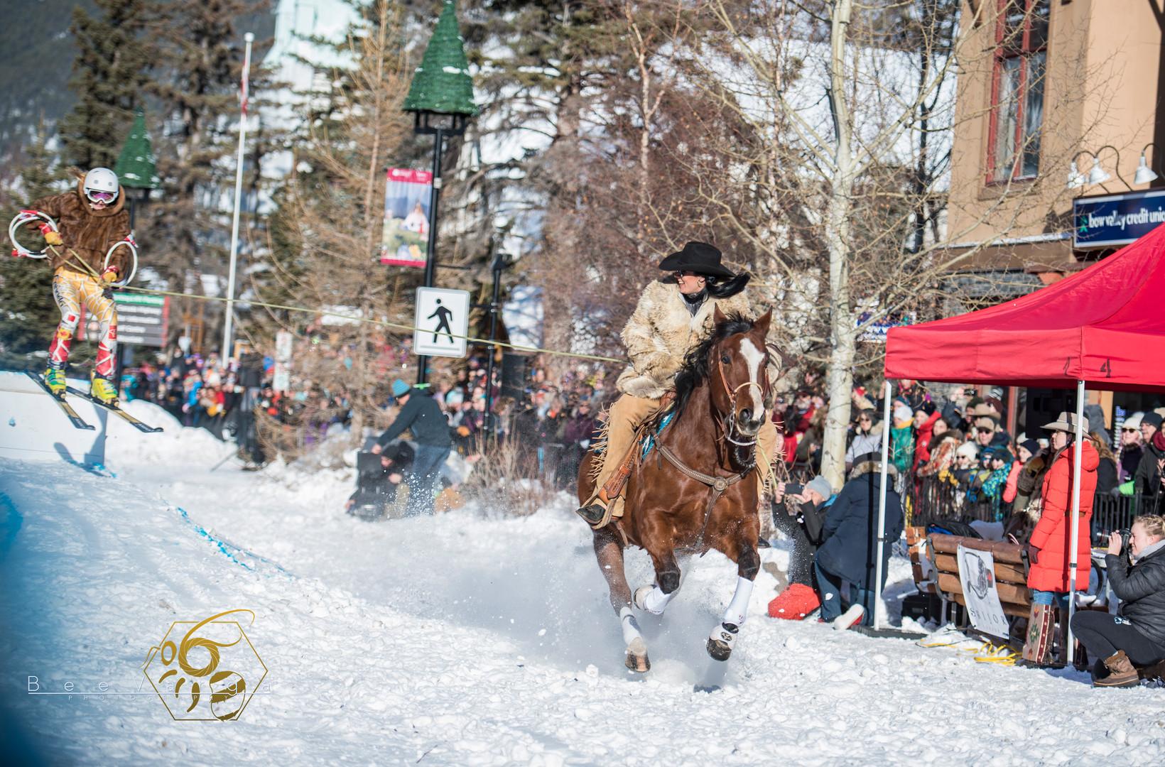 Jill Barron, Skijor in Banff. January 19 2020.