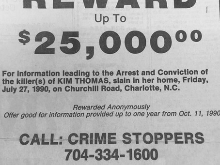 Old 1990/1991 Reward Offer for Information on Kim's Murder
