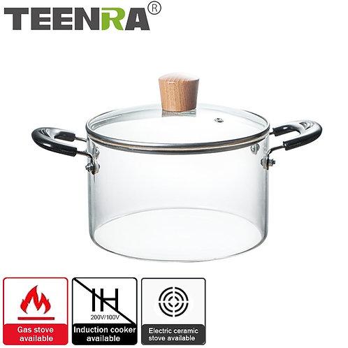 1.2-2 Liter Transparent Glass Kitchen Cookware Saucepan
