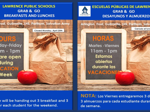 LPS Meals during Spring Break / Comidas de LPS durante las vacaciones de primavera