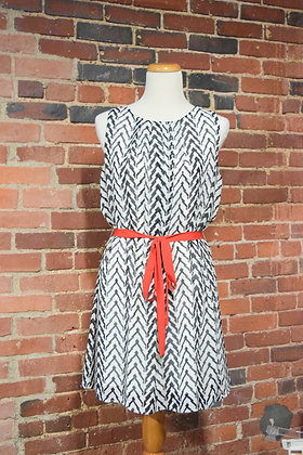 Belted Chevron Dress by Francesca's Collections