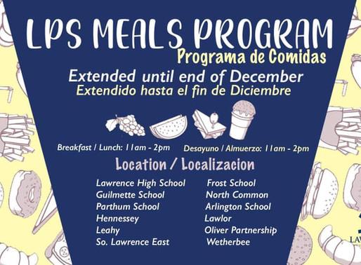 LPS Meals Program Extended to end of December / El programa de comidas de LPS se extiende