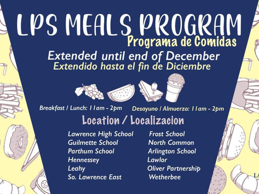 LPS Meals Program Extended to end of December / El programa de comidas de LPS se extiende