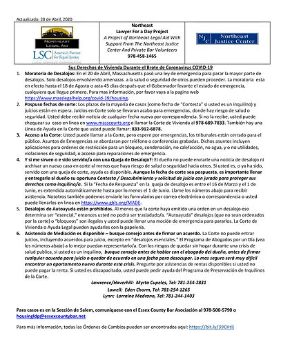 Northeast - Coronavirus Housing Flyer Sp