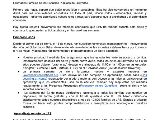 Carta del Superintendente de LPS a las familias 4-9-2020