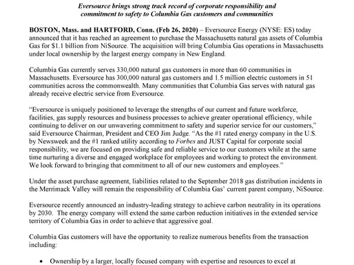 PRESS RELEASE: Eversource to Acquire Columbia Gas of Massachusetts Assets for $1.1 Billion