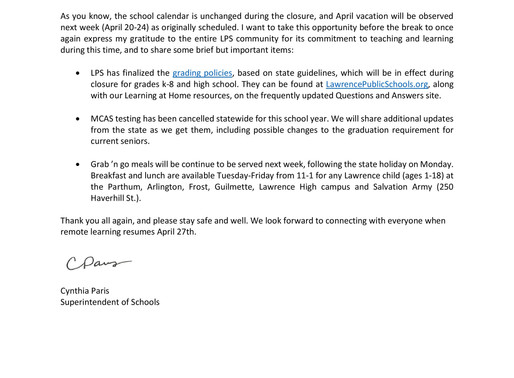 Message to Families from LPS