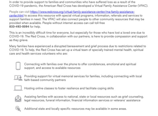 Red Cross Offers Virtual Care for Families Who Have Lost Loved Ones to COVID-19