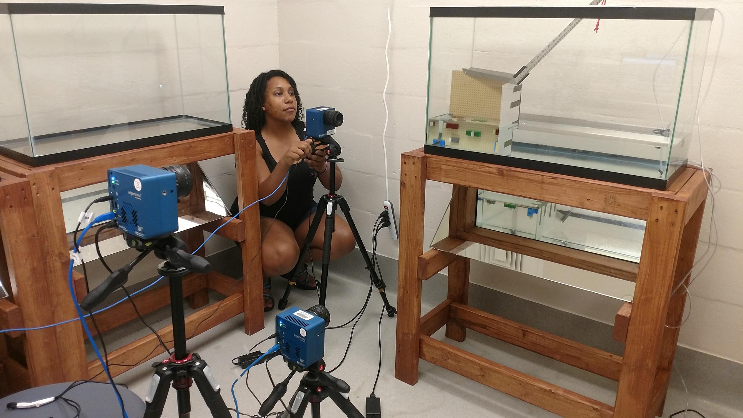 Kassie Ford filming knifefish