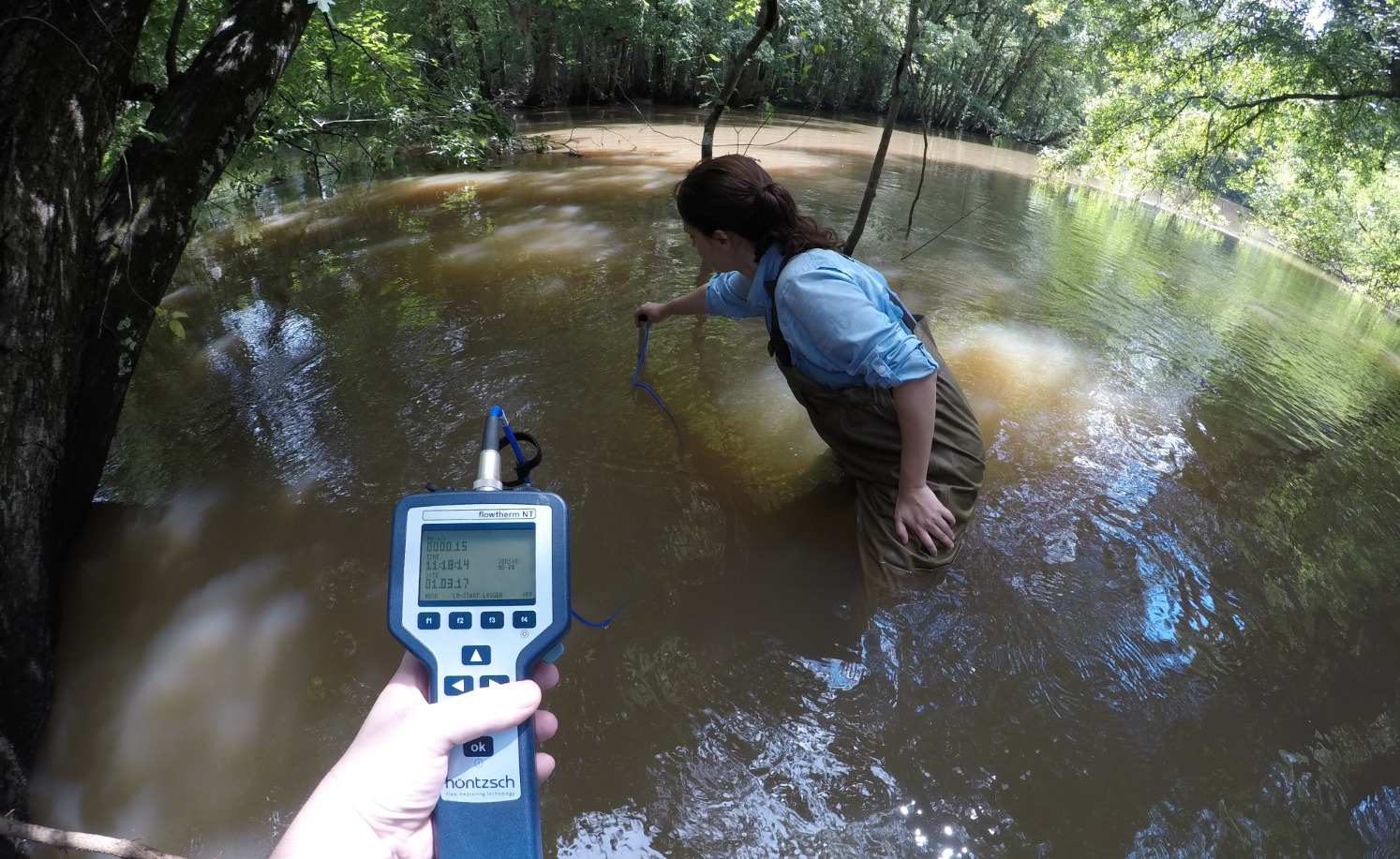 Measuring flow in the river